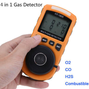 4 In 1 Harmful Gas Detector Carbon Monoxide Co O2 H2s Lel Analyzer Meter W Box