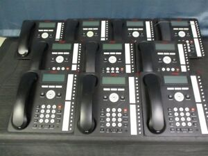 Lot Of 10 Avaya 1616 Office Phones Black With Handsets And Stands Tested