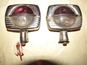 Vintage Auto Lamp Co Chicago turn Signal Back up Lights Art Deco Pair