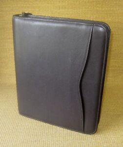 Monarch folio 1 Rings Brown Leather Day timer Zip Planner binder Franklin
