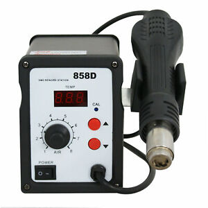 858d Soldering Rework Station Iron Welder Desoldering Hot Air Gun Tool W nozzles