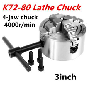 K72 80 3 4 Jaw Lathe Independent Chuck 80mm M6 Reversible Jaws Cnc Metalworking