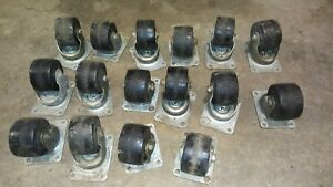 Casters Lot Of 16 Rubber 3 Inch Wheel Bassick Canaphin Casters