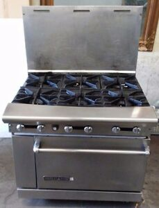 American Range Ar 6 36 Inch Stove 6 Open Burner W Oven Below Commercial Steel