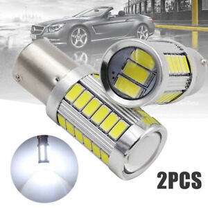 Led Car 2x White Bulbs Ba15d P21w 1157 Backup Reverse Light 33 Smd 5630 5730 12v