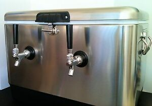 Stainless Steel Double Jockey Box Draft Keg Beer Cooler Dual Coil Complete New