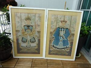 2 Very Fine And Beautiful Hand Painted Chinese Ancestor Portraits