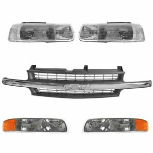 Headlight Parking Lamp Grille Kit Set For Chevy Silverado Tahoe Suburban New