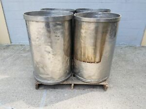 Used Open Top Stainless Steel Drums 4 Pack Lot Number 3