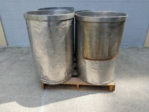 Used Open Top Stainless Steel Drums 4 Pack Lot Number 5