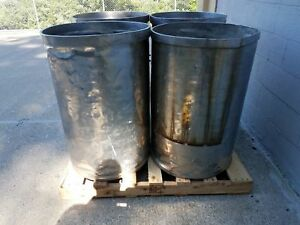 Used Open Top Stainless Steel Drums 4 Pack Lot Number 10