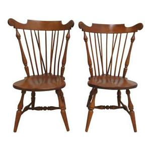 Pair Ethan Allen Windsor Maple Dining Room Side Chairs Heirloom