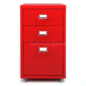 3 Drawers Sturdy Metal File Filing Cabinet Storage Home Office Essential P2w1