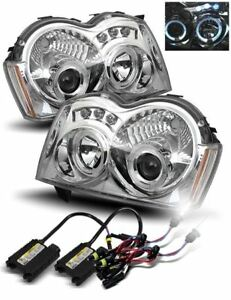 6000k Hid For 05 07 Jeep Grand Cherokee Halo Projector Headlights Lamps Chrome