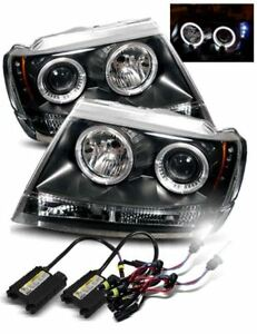 6000k Hid For 99 04 Jeep Grand Cherokee Halo Projector Headlights Lamps Black