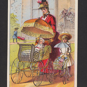 Antique 1800 S Gendron Baby Carriage Buggy Doll Stroller Advertising Trade Card