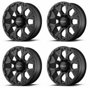 Set 4 18 Helo He878 Black Rims 18x9 5x5 12mm Lifted Jeep Wrangler 5 Lug Truck