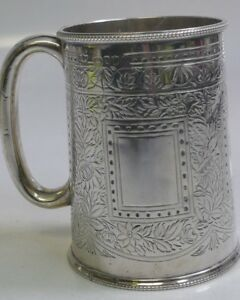 Gorgeous 1886 Mappin Webb Sterling Silver Victorian Christening Mug