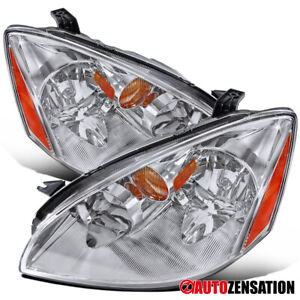 For 2002 2004 Nissan Altima Pair Clear Lens Headlights Head Lamps Left Right