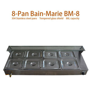 8 pan Bain marie Restaurant Food Warmer Large Capacity Buffet Steam Table 110v