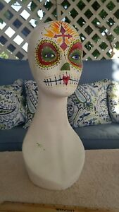 Female Mannequin Head Hand Painted Day Of The Dead Sugar Skull Wig