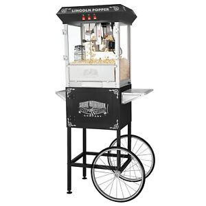 Great Northern Black Antique Style Lincoln Popcorn Popper Machine W cart 8 Oz