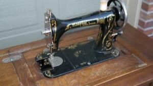 Rare Eldredge Two Spool Sewing Machine With Incredible Orig Treadle Base