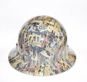New Custom Hydro Dipped Sleek Shell Wide Brim Hardhat In Oilfield Camo Gloss