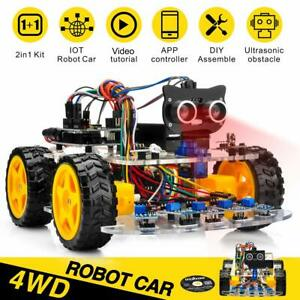 4wd Robot Car Kit For Arduino Tracking Wifi Bluetooth Ios Android App Control