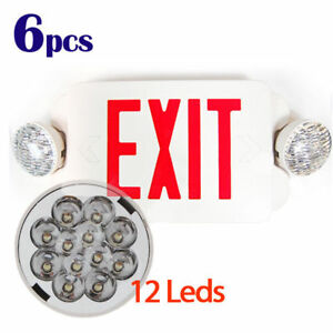 6pcs Led Exit Sign Emergency Light Red Compact Combo Lighting Ul924 El2br6