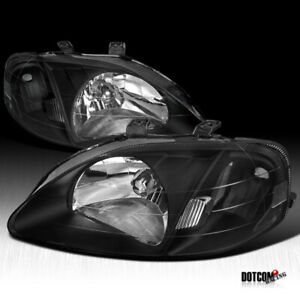 For 1999 2000 Honda Civic 2 3 4dr Jdm Black Crystal Headlights Lamps Replacement