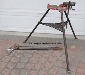 Used Ridgid 450 Tristand With Chain Vise Plus Two Conduit Pipe Benders