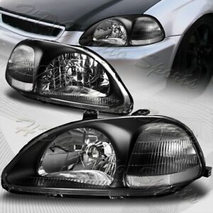 For 96 98 Honda Civic 2 3 4dr Ek Black Housing W Clear Reflector Headlights Lamp