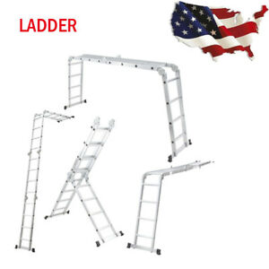 15 5ft Aluminum Multi Purpose Ladder Extension Folding Telescoping High quality