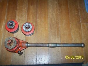 Ridgid 12r Ratcheting Pipe Threader Threading 3 Dies 1 2 3 4 1