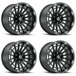 Set 4 17 Vision 417 Creep Black Rims 17x9 5x5 12mm Lifted Jeep Chevy Gmc 5 Lug