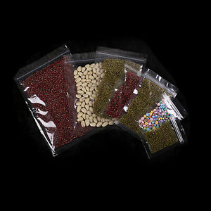 New Clear Flat Zip Lock Poly Plastic Sample Storage Bag Pouches Different Sizes