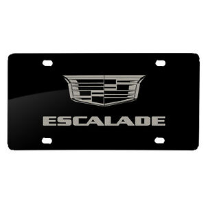 Cadillac Escalade Crest Logo Matt look Laser Mark Black Acrylic License Plate