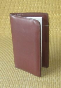 Pocket Size Brown Calf Leather Day timer Planner Cover Wire Bound Usa