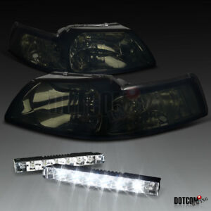 1999 2004 Ford Mustang Smoke Tint Headlight W 6 led Bumper Drl Fog Lamp
