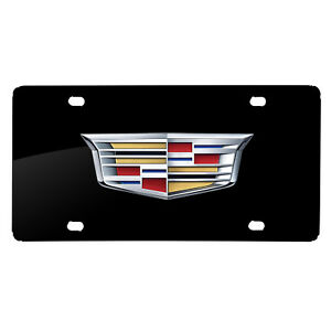 Cadillac Crest Logo Full color Uv Graphic Black Stainless Steel License Plate