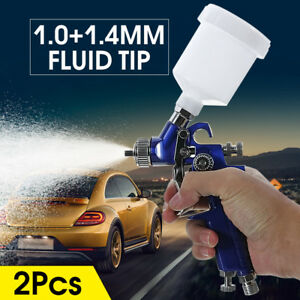 1 0 1 4mm Hvlp Spray Gun Auto Car Paint Gravity Feed Gauge Flake Primer Nozzle