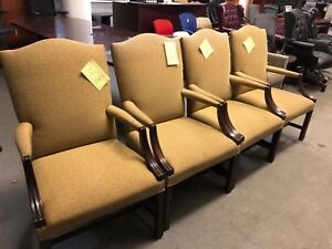 Lot Of 4 High Back Guest Lobby Chairs By Steelcase Office Furniture W wood Frame