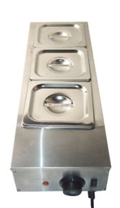3 Pan Chocolate Melter Well Bain Marie Water Heating Tempering Kitchen Warm