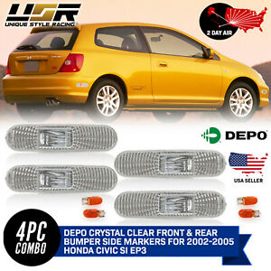Depo Clear Front Rear Bumper Side Marker Lights For 02 05 Honda Civic Si Ep3 3dr