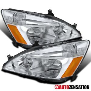 For Honda 2003 2007 Accord Ex Lx 2 4dr Pair Clear Lens Headlights Lamps amber