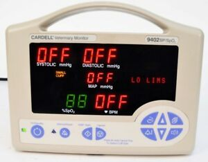 Cardell 9402 Veterinary Monitor Bp sp02 Blood Pressure Oxygen no Battery