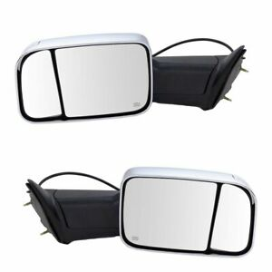 Towing Mirror Power Heated Turn Signal Puddle Light Chrome Pair For Dodge Ram
