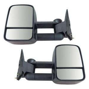 Towing Mirror Manual Textured Black Pair Set For Gm C k Pickup Truck Suv New