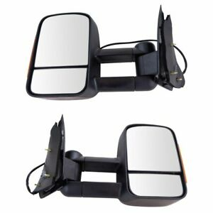 Towing Mirror Power Turn Signal Textured Black Pair For Ford F150 F250ld New